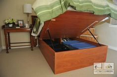 DIY Lift Storage Beds-with my small house I need all the storage I can get.  http://storagebeds.com/products-page/diy-kits.  Looks pretty easy!