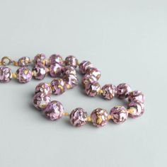 Hey, I found this really awesome Etsy listing at https://www.etsy.com/listing/172842407/foil-glass-bead-necklace-orchid-lilac