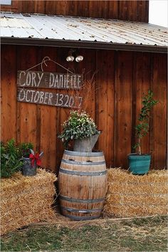 Country rustic hay bale wedding sign decor