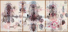 LUBOS PLNY (1961) | Czech artist Lubos Plny using a combination of drawings and assemblage.