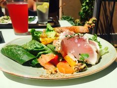 {Lunch Apr 20} Albacore tuna salad with roasted carrots and a pink kombucha, all from Tender Greens in Point Loma. Feeling delighted