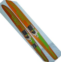 Vintage Natural Wood Water Skis Pair Riviera Combo Double Decor Wall Hanger