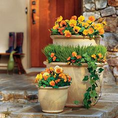 Pansies, Violas, Panolas, Grass & Ivy - Spectacular Container Gardening Ideas - Southern Living * I love the stacked planters for height! Container Plants, Container Gardening, Gardening Tips, Container Flowers, Vegetable Gardening, Organic Gardening, Lawn And Garden, Garden Pots, Home And Garden