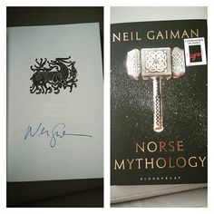 #geek out moment! My #signedcopy of #NorseMythology by my favourite author @neilhimself. Super excited to read this!  N has already devoured Fortunately The Milk, and Wolves In the Walls. Hoping she'll enjoy his other books for younger readers. This,however,is mine 😊 #books #reading #HomeEducation #LoveHomeEd #100DaysOfHomeEd