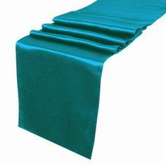 """OurWarm Teal Blue Satin Table Runner 12""""x 108"""" (Inch) Wedding Party Table Decoration by OurWarm, http://www.amazon.com/dp/B009TJ6SL8/ref=cm_sw_r_pi_dp_Lpvirb0G352SG"""
