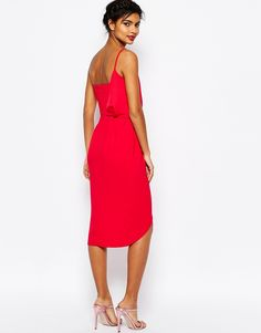 Image 2 of ASOS Asymmetric One Shoulder Wrap Front Pencil Dress