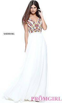 Ivory Prom Dress with Embroidered Bodice at PromGirl.com