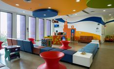 The Teleton Children's Oncology Hospital was built and designed by Sordo Madaleno Architects, it's located in Querétaro Clinic Interior Design, Clinic Design, Healthcare Architecture, Architecture Design, Children's Clinic, Elevator Design, Daycare Rooms, Apartment Goals, Small Room Bedroom