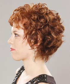 Short Curly Formal Hairstyle with Layered Bangs - Ginger Hair Color Short Layered Curly Hairstyles Layered Curly Haircuts, Short Layered Curly Hair, Haircuts For Curly Hair, Short Hair With Layers, Curly Hair Cuts, Long Curly Hair, Long Hair Cuts, Hairstyles Haircuts, Cool Hairstyles