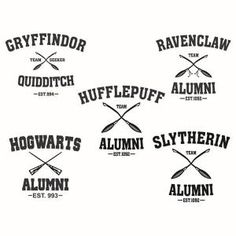 Hogwarts Slytherin Gryffindor Ravenclaw and Hufflepuff School Alumni Pack Cuttable Design Cut File. - Trend Design Home App 2019 Harry Potter Shirts, Harry Potter Theme, Harry Potter Diy, Harry Potter Decal, Ravenclaw, Apex Embroidery, Embroidery Designs, Silhouette Cameo Projects, Slytherin