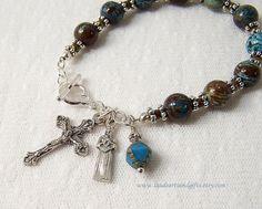 Rosary Bracelet Blessed Kateri Tekakwitha by LaudeArtsandGifts, $21.50