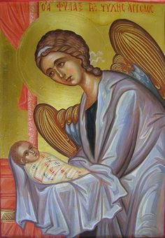 Each of us has a Guardian Angel who is always with us. Mine literally appeared to my friends and saved me from serious danger last year! This is an Orthodox icon of the Guardian Angel. Archangels, Orthodox Icons, Byzantine Art, Guardian Angels, Angel, Christian Art, Art Icon, Sacred Art