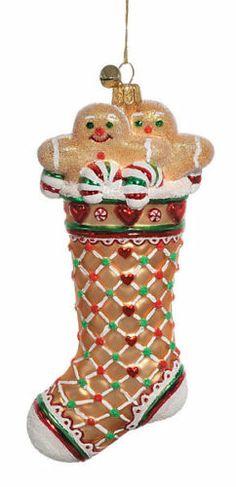 "Jinglenog ""Ginger stocked"" Gingerbread Stocking Ornament Made in Poland 7 | eBay"