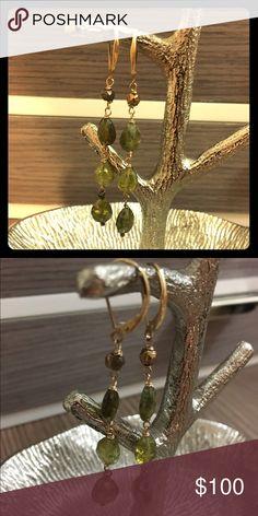 "Gorgeous peridot earrings by Nancy Cohen Beautiful peridot earrings by Nancy Cohen. 14ct gold lever back ear hoops make these an instant classic. Dangles about 3"" from ear. Jewelry Earrings"