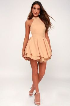 When the spotlight falls on you, you'll be grateful to be donning a number as cute as the Dress Rehearsal Peach Skater Dress! Back cutout meets a full skater skirt. Tight Dresses, Cute Dresses, Short Dresses, Skater Dresses, Dresses Dresses, Peach Homecoming Dresses, Graduation Dresses, Prom Dresses With Pockets, Rehearsal Dress
