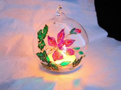 Violet flower christmas glass ball t-light by RowenaGlassCreations
