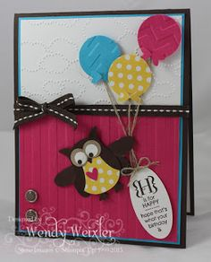 Stampin' Up! Birthday Owl  by Wendy Weixler at Wickedly Wonderful Creations: Good Times ... card idea, birthday card, owl punch cards, birthday owl, punch idea, stampin, owl card, birthday balloons, owls