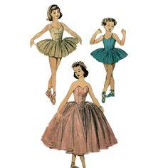 Advance 711  Vintage 50s Ballerina Costume Pattern Basque Waist Girls Size 6 Breast 24