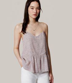 Image of Dotted Peplum Strappy Cami