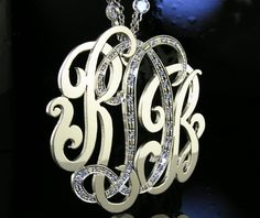 "Monogram  Necklace  Sterling Silver  2"" by magichandjewelry, $400.00. Lovely. Want Santa to put this in my stocking this year."