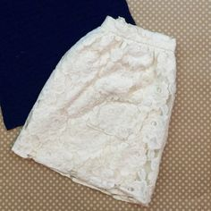 Cream Lace Mini Skirt This skirt is made to sit at the waist. Forever 21 Skirts Mini
