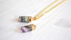 vergoldeter Amethyst, Edelstein Kette, Pendel // golen gemstone necklace via DaWanda.com