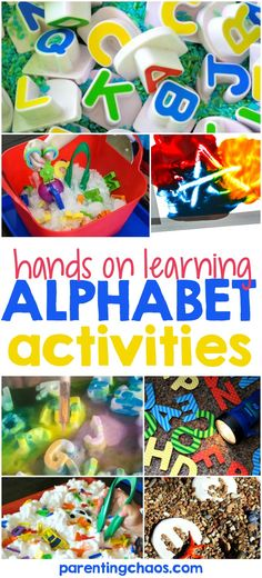 Fun Hands on Alphabet Activities for Kids Fun ABC Kids' activities and alphabet games to help your child learn their ABCs!Fun ABC Kids' activities and alphabet games to help your child learn their ABCs! Alphabet Games, Teaching The Alphabet, Learning Letters, Learning Activities, Kids Learning, Abc Games, Teaching Toddlers Abc, Teaching Resources, Teaching Abcs