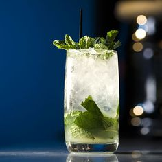 epicurious.com   Mojitos   lime juice, superfine sugar, crushed ice, mint leaves, white rum, club soda