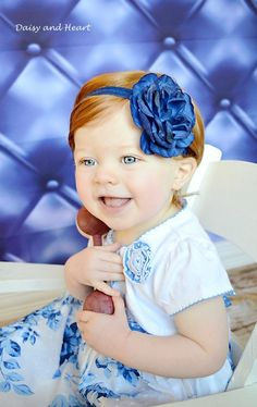 Navy rose headband baby girl headband baby by DaisyandHeartDesigns, $8.95