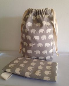 Changing Mat and Drawstring Bag Elephant in gray by LilTotWonder, $45.00
