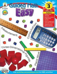 Differentiate math instruction using Guided Math Made Easy for grade 3. This 96-page book includes large-group lessons that are paired with smaller, individualized mini-lessons at three levels of diff