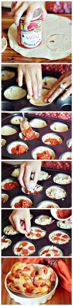 Mini Deep Dish Pizzas Ingredients: 3-4 Whole wheat wraps1 1 (15 oz) Can pizza sauce 3/4 cup Shredded mozzarella cheese 1/4 cup Parmesan cheese 48 Mini turkey pepperonis (or 12 whole turkey pepperon...