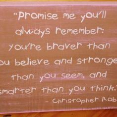 Winnie the Pooh Sign Christopher Robin You're Stronger Braver Smarter Promise Me New Baby Gift Baptism Pink Princess Plaque Christopher Robin by SleepyHollowPrims for $25.00
