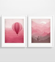 Hot Air Balloon and Windmills in Pink - Wall Art Set of 2