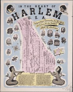In the Heart of Harlem U.S.A. Art by Bernie Robynson. From the collection of Langston Hughes.