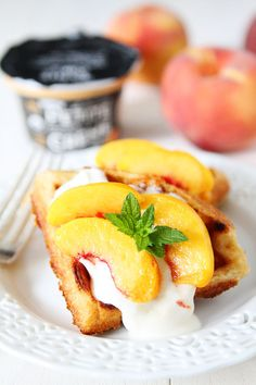 Peaches and Creme Waffles on twopeasandtheirpod.com
