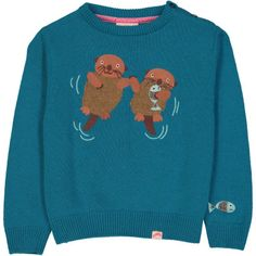 ALBERTA Intarsia & Embroidery Knit Jumper/Stormy Blue (Otters)