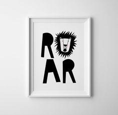 Lion 'Roar' Baby room art. Black and white baby. Modern print, wall art, sweet baby shower gift, scandinavian, nursery decor