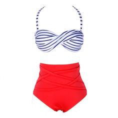 New Hot Sale Vintage Style Bikini set Stripes High Waist Padded Twisted Bandeau Swimwear Swimsuit b4 SV001362