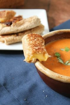 Grilled Cheese Rolls. MUST try this next time Bryan and I have a sick night together lol. Tomato basil soup and grilled cheese are a peeerfect combo when you're sniffly :) (chicken noodle for Bryan)