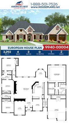 Plan 9940-00004 details a European home with 3,292 sq. ft., 4 bedrooms, 3 bathrooms, split bedrooms, a breakfast nook, a formal living room, and a 2 car garage. #europeanhome #architecture #houseplans #housedesign #homedesign #homedesigns #architecturalplans #newconstruction #floorplans #dreamhome #dreamhouseplans #abhouseplans #besthouseplans #newhome #newhouse #homesweethome #buildingahome #buildahome #residentialplans #residentialhome