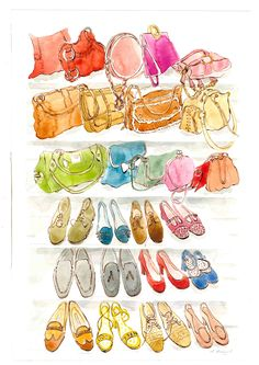Illustration of bags and shoes. Watercolour and ink. Recent private commission.