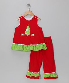 Take a look at this Red Christmas Tree Corduroy Top & Pants - Infant, Toddler & Girls by Candyland on #zulily today!