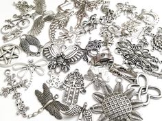 Bulk Zipper Pull Charm Assortment, Silver Pendant Collection, Bulk Charms, 100 Grams, Antique Silver, Lead Free, Cadmium Free