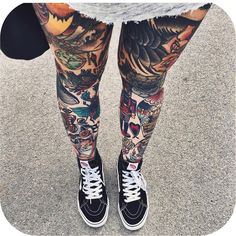 Tattoos covering all legs