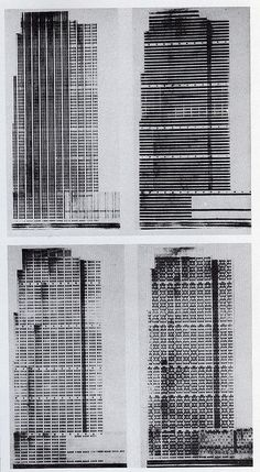 Raymond Hood - Preliminary studies for RCA Building. Raymond Hood. 1931. One of these alternative studies for the facade show a imitation of McGraw-Hill Building style.