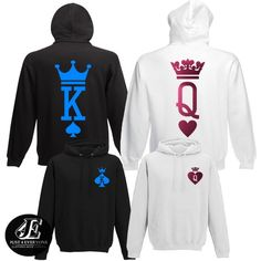 King Queen Hoodies Set of King & Queen Pärchen Pullover Family Clothes, Family Outfits, Cute Swag Outfits, Dope Outfits, Heather Gray, King And Queen Sweatshirts, Matching Hoodies, Nike Slippers, Babe