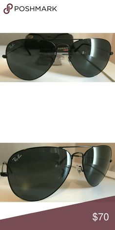 ee90687a09b76 Ray-Ban Aviators Black Frame Black Lens Authentic and new Ray-Ban Aviators.  Comes with case and cleaning cloth. Will ship same day!