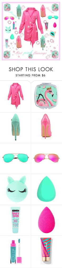 """Mint pink flamingo"" by exoduss ❤ liked on Polyvore featuring SW Global, Ray-Ban, Maybelline, beautyblender and Jeffree Star"