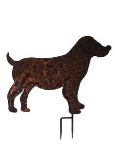 Hund Beagle XL 37 cm hohe Silhouette Schmiedeeisen in Antik Rost Design